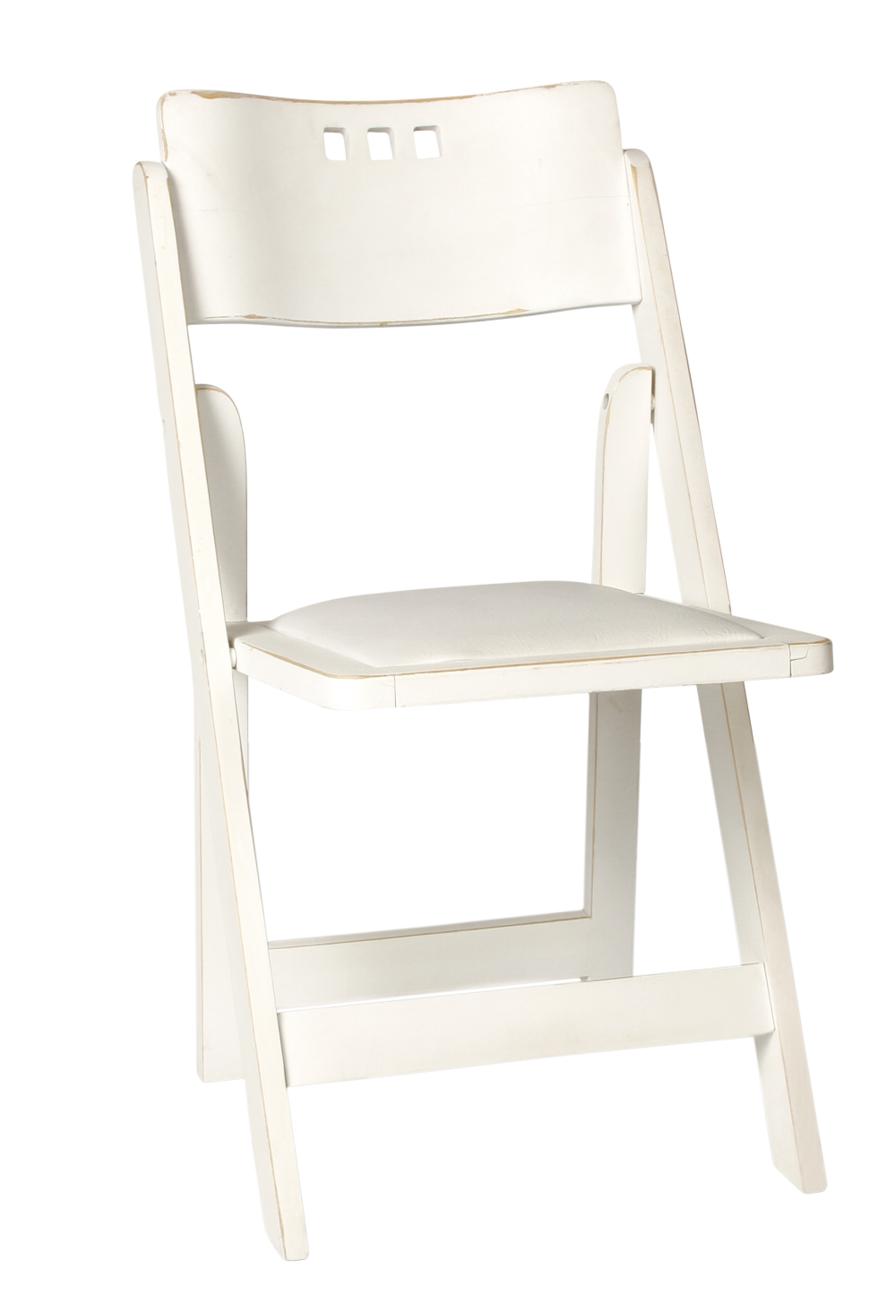 WHITE DISTRESSED 3 HOLE WOOD FOLDING CHAIR