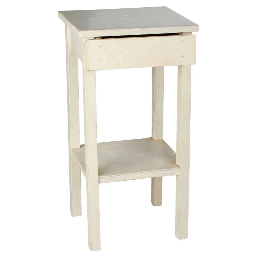 """EUROPEAN TABLE IVORY WITH DRAWER 16"""" X 14"""" X 31"""" HIGH"""