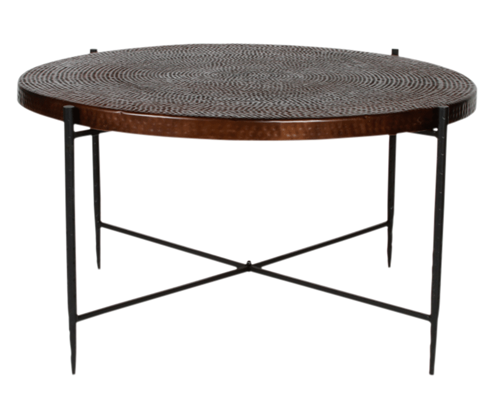"RAVI COPPER COFFEE TABLE 36"" X 20"" HIGH Rentals"